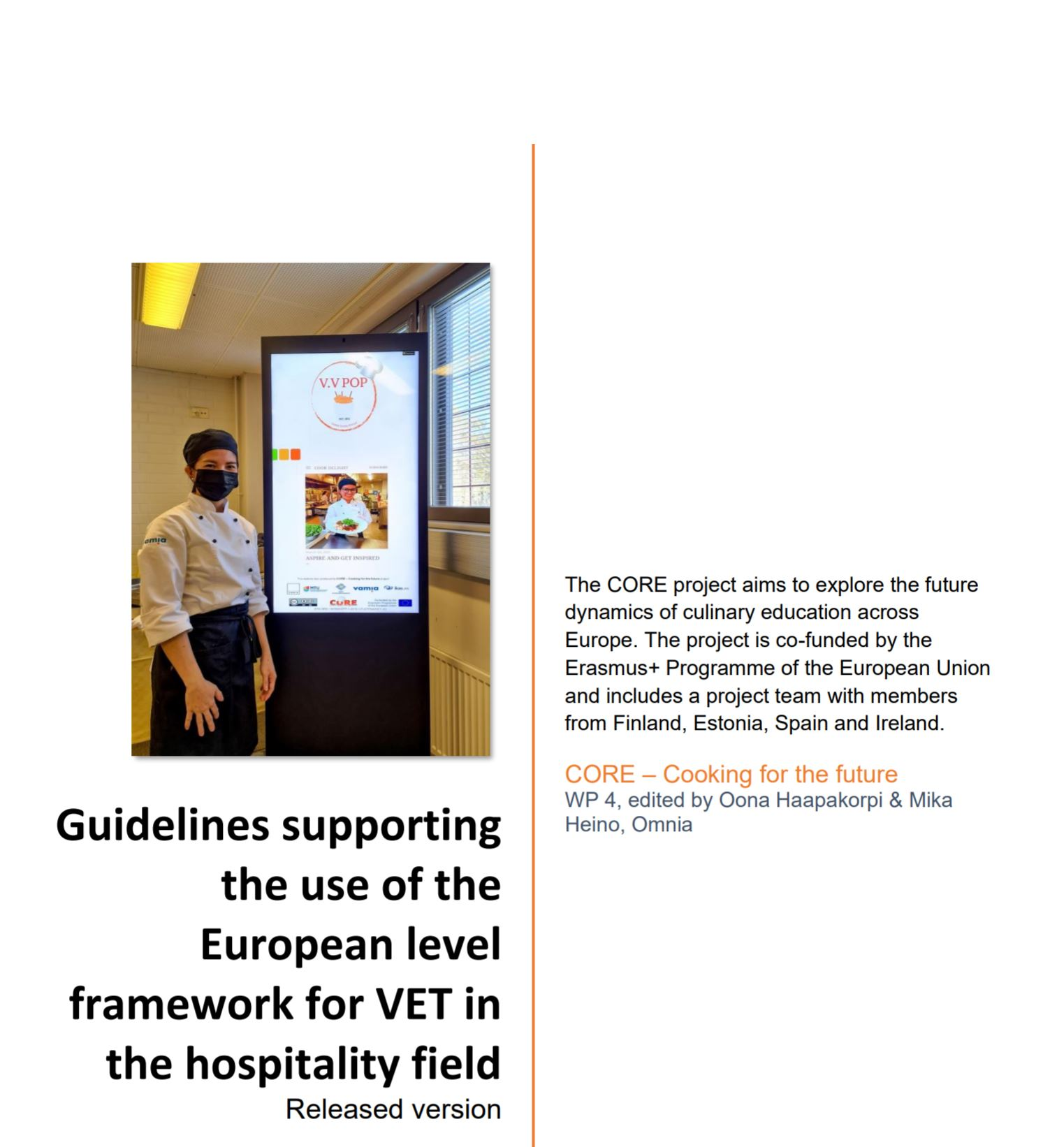 Guidelines supporting the use of the European level framework for VET in the hospitality field